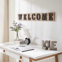 WELCOME Wood and Metal Wall Decor-Black - $49.99