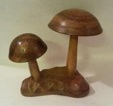 Mid Century Monkey Pod Wood Mushroom Appetizer Party Server Hors D'oeuvr... - $24.75