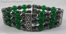 3 Strand Magnetic Hematite, Emerald and Silver  Bracelet - $16.95