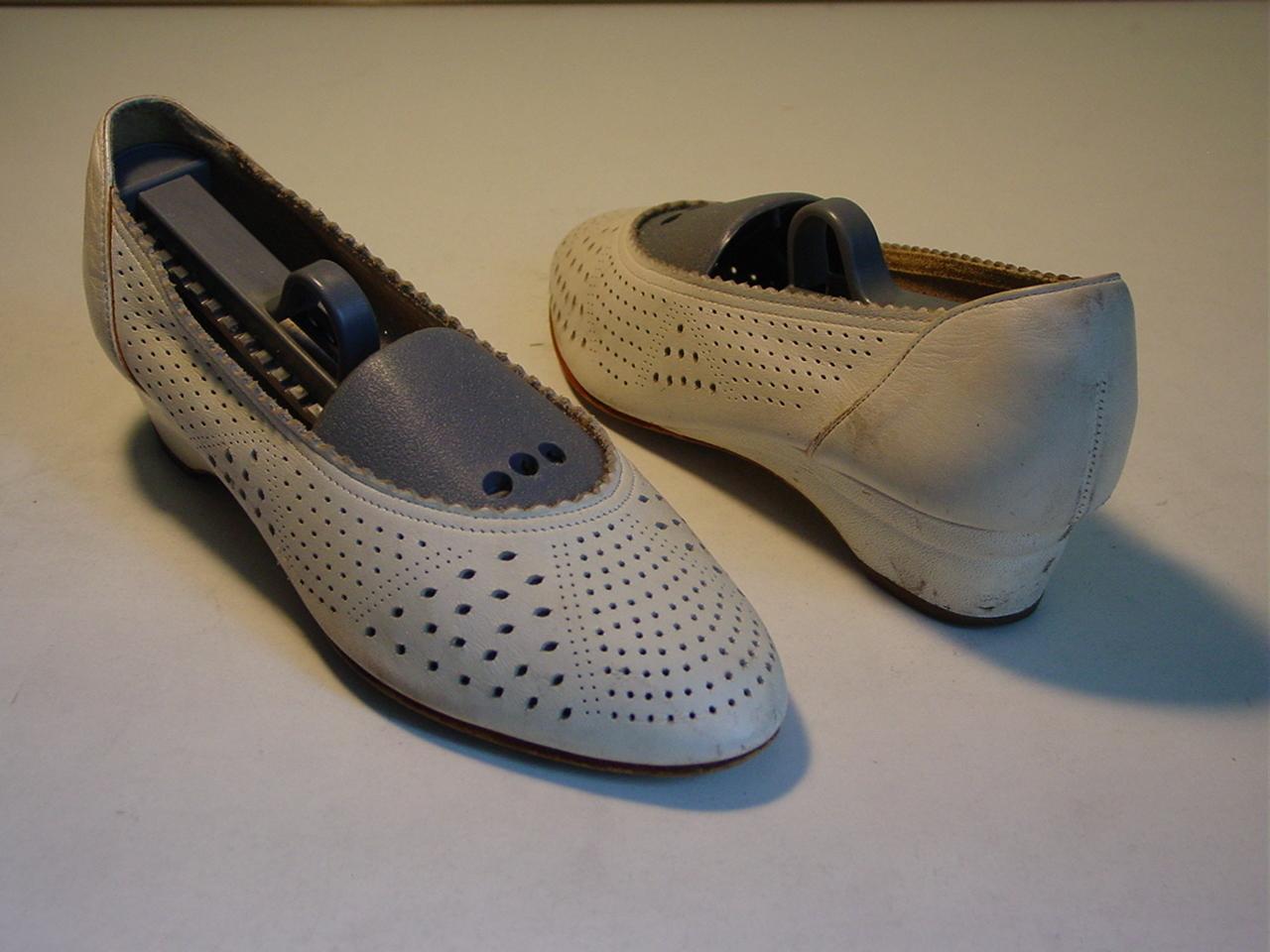 Vintage Designer White Bridal Ballerina Leather Shoes