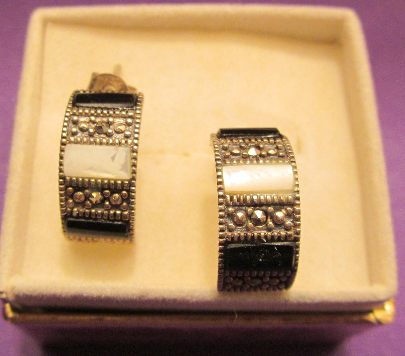 Ss marcasite onyx mop earrings 3