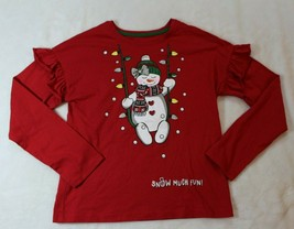 Holiday Time Girls Top Size L 10 12 Red Snowman Christmas Snow Much Fun ... - $17.81