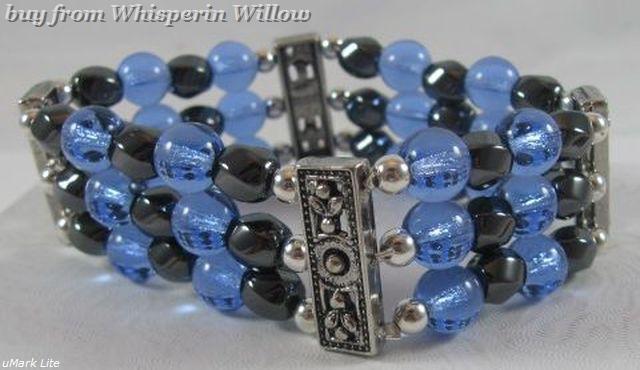 Magnetic hematite sapphire bracelet 1