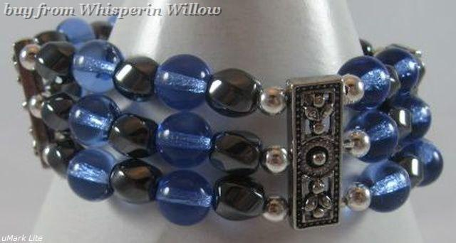 3 Strand Magnetic Hematite, Sapphire and Silver Bracelet