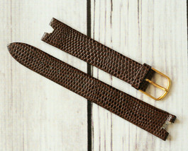 vintage Speidel lizard calf skin leather watch band strap dark brown rep... - $14.84
