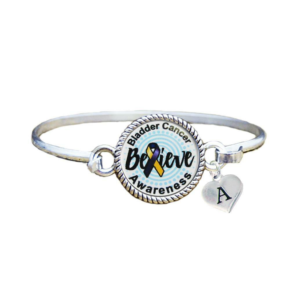 Primary image for Custom Bladder Cancer Awareness Believe Silver Bracelet Jewelry Choose Initial