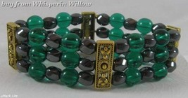 3 Strand Magnetic Hematite, Teal Glass and Gold  Bracelet - $16.95