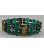 3 Strand Magnetic Hematite, Teal Glass and Gold  Bracelet - $16.95