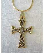 Celtic Cross Goldtone Necklace with Gold Plated Chain - $10.00