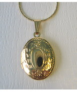 Gold Plated Two Photo Oval Locket with Gold Plated Chain - $10.00