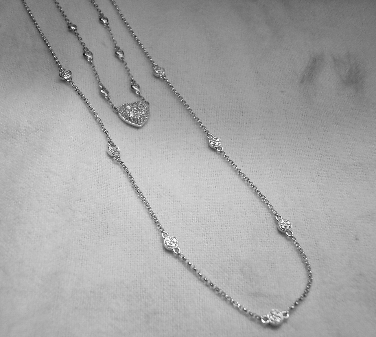 Sterling silver heart with 24 inch diamonds by yard