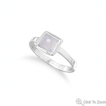 Small Square Blue Chalcedony Handcrafted Sterling Silver Stacking Ring   - $39.95