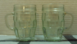 Vintage Pale Green Glass Barrel Beer Mugs // Vintage Glass Bar Ware - $15.00