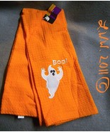 2 Orange and white Halloween Boo Ghost Waffle Knit Towels 100% Cotton   - $5.99