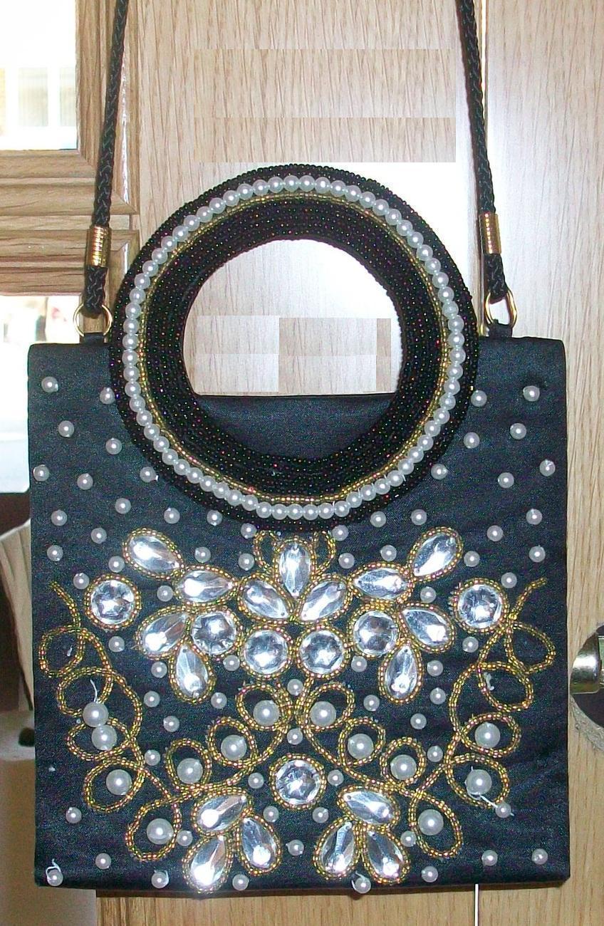 Vintage Black Satin Small Evening Bag / Handbag with satin r Bonanza