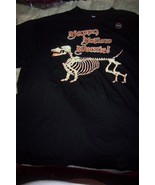 Mens Halloween Glow in the Dark T-Shirt Skeleton Dog NEW Black SZ 2X - $14.00