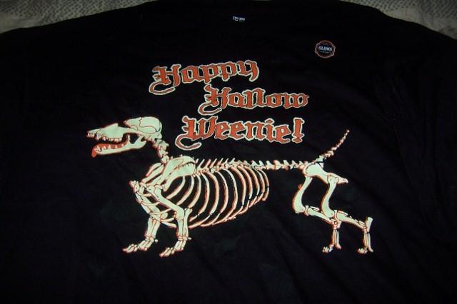 Mens Halloween Glow in the Dark T-Shirt Skeleton Dog NEW Black SZ 2X