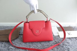 100% Authentic Louis Vuitton CAPUCINES MM Bag Red Taurillon Python