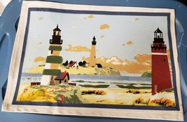 "Set Of 4 Linen Fabric Placemats 13"" X 18"", Nautical Theme, Lighhouses, Oc EAN - $15.83"