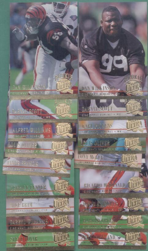 1994 Fleer Ultra Cincinnati Bengals Football Team Set