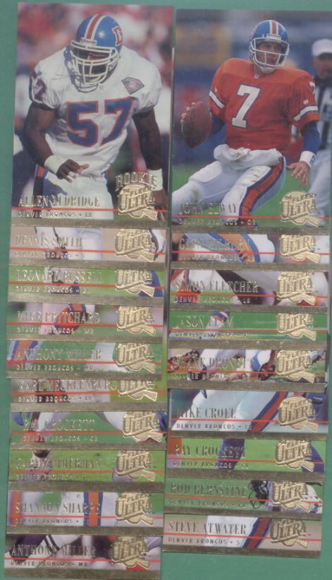 1994 Fleer Ultra Denver Broncos Football Team Set