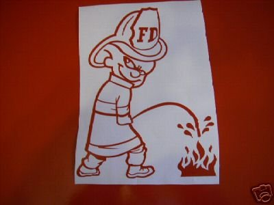 PEE ON FIREFIGHTER HOSE FIRE DECAL WINDOW GRAPHIC CAR