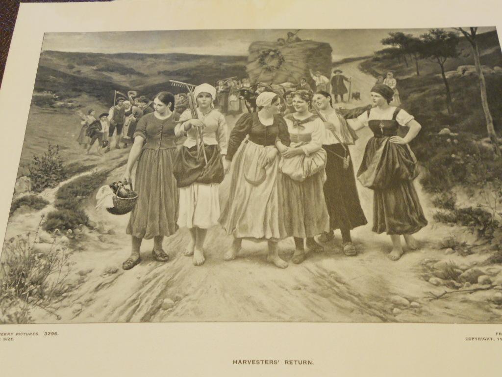 Vintage Prints Perry Pictures  set of 3 Harvest scenes