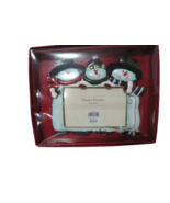 """Snowmen Holiday Picture Photo Frame Marco Navideno 4""""x6"""" Picture New In Box - $13.86"""