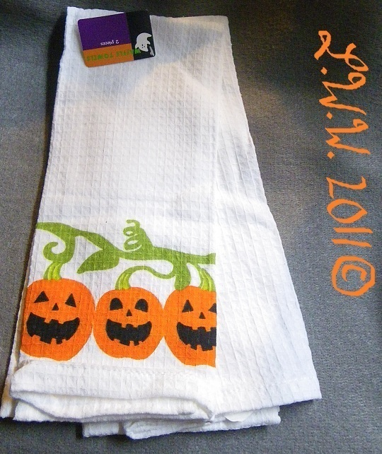 2 White Pumpkin Jack-'o-lantern Halloween Waffle Knit Towels 100% Cotton