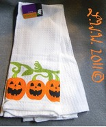 2 White Pumpkin Jack-'o-lantern Halloween Waffle Knit Towels 100% Cotton  - $5.99