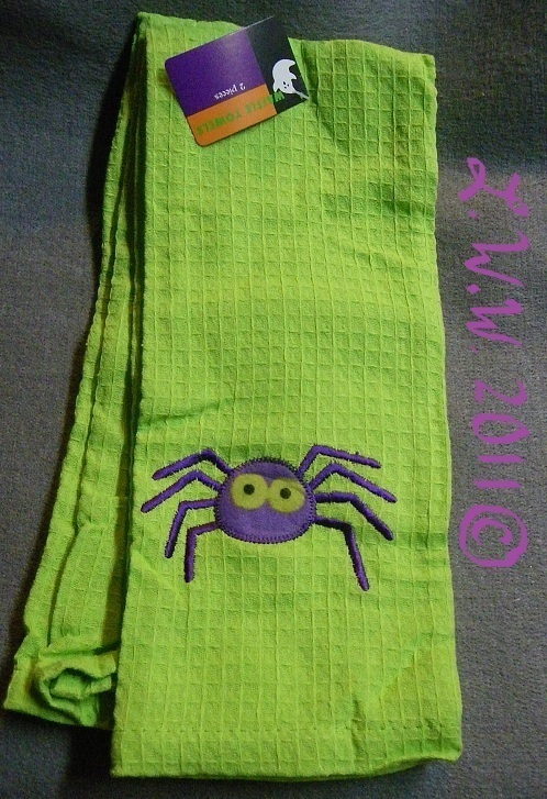 2 Lime Green Halloween Purple Spider Waffle Knit Towels 100% Cotton