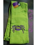 2 Lime Green Halloween Purple Spider Waffle Knit Towels 100% Cotton - $5.99