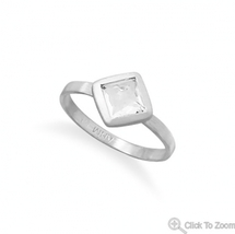 Handmade Brushed Freeform Faceted White Topaz Sterling Silver Stacking Ring - $44.95