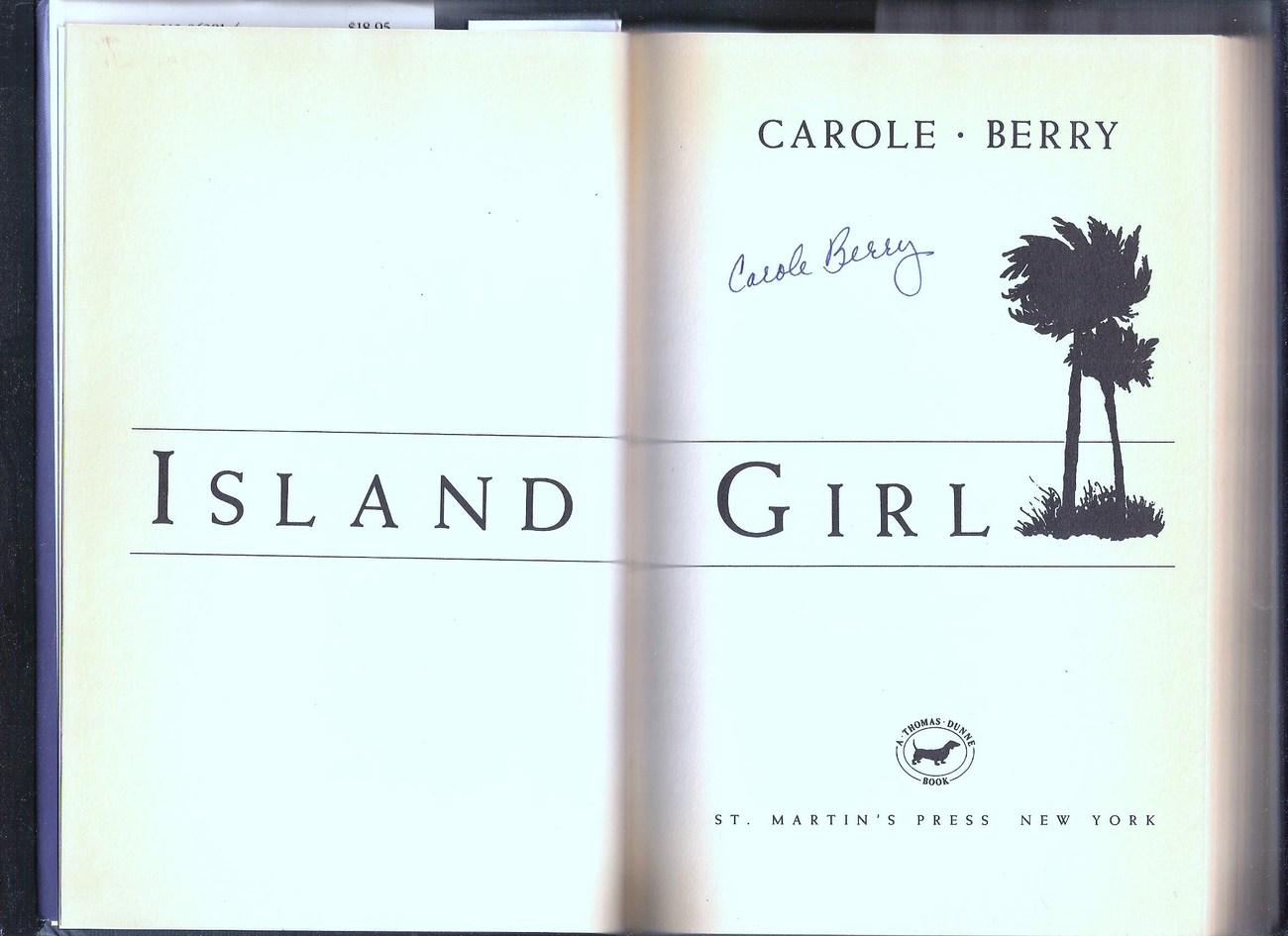 Island Girl, A Mystery by Carole Berry~1st Ed, signed (unauthenticated) HCDJ