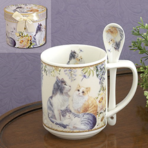 Bits and Pieces - 10 OZ Cat Mug with Teaspoon - Coffee and Tea Mug Comes... - $22.78