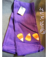 2 Purple Halloween Candy Corn Waffle Knit Kitchen Towels 100% Cotton  - $5.99