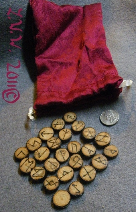 Handmade Cherry Wood Futhark Rune Set with Pouch Pagan Wicca Divination Oracle
