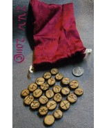 Handmade Cherry Wood Futhark Rune Set with Pouch Pagan Wicca Divination ... - $6.99