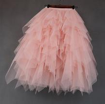 Women's Sweet High Waist Hi-lo Tiered Tulle Layered Ruffle Mesh Long Tier Skirt image 6