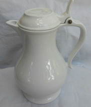 RED CLIFF IRONSTONE COFFEE BEVERAGE CARAFE POT PITCHER HOLDER WHITE RARE - $126.22