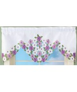 "1 Fabric Embroidered Valance (40""Wx16.5""L) ELEGANT WILDFLOWERS (no tiers... - $12.86"