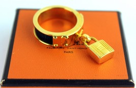 Authentic HERMES Kelly Padlock Gold Epsom Black Leather Scarf Ring Franc... - $246.51