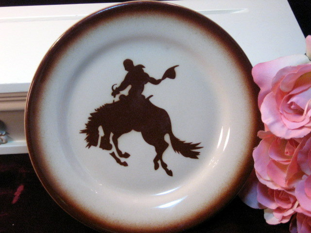 Vintage Wallace China Bucking Bronco Cowboy Western Plate, Rare Pattern 1940s