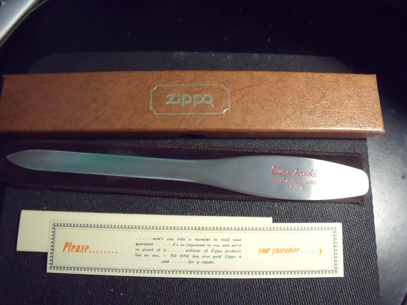 Zippo Advertising Letter Opener NIB