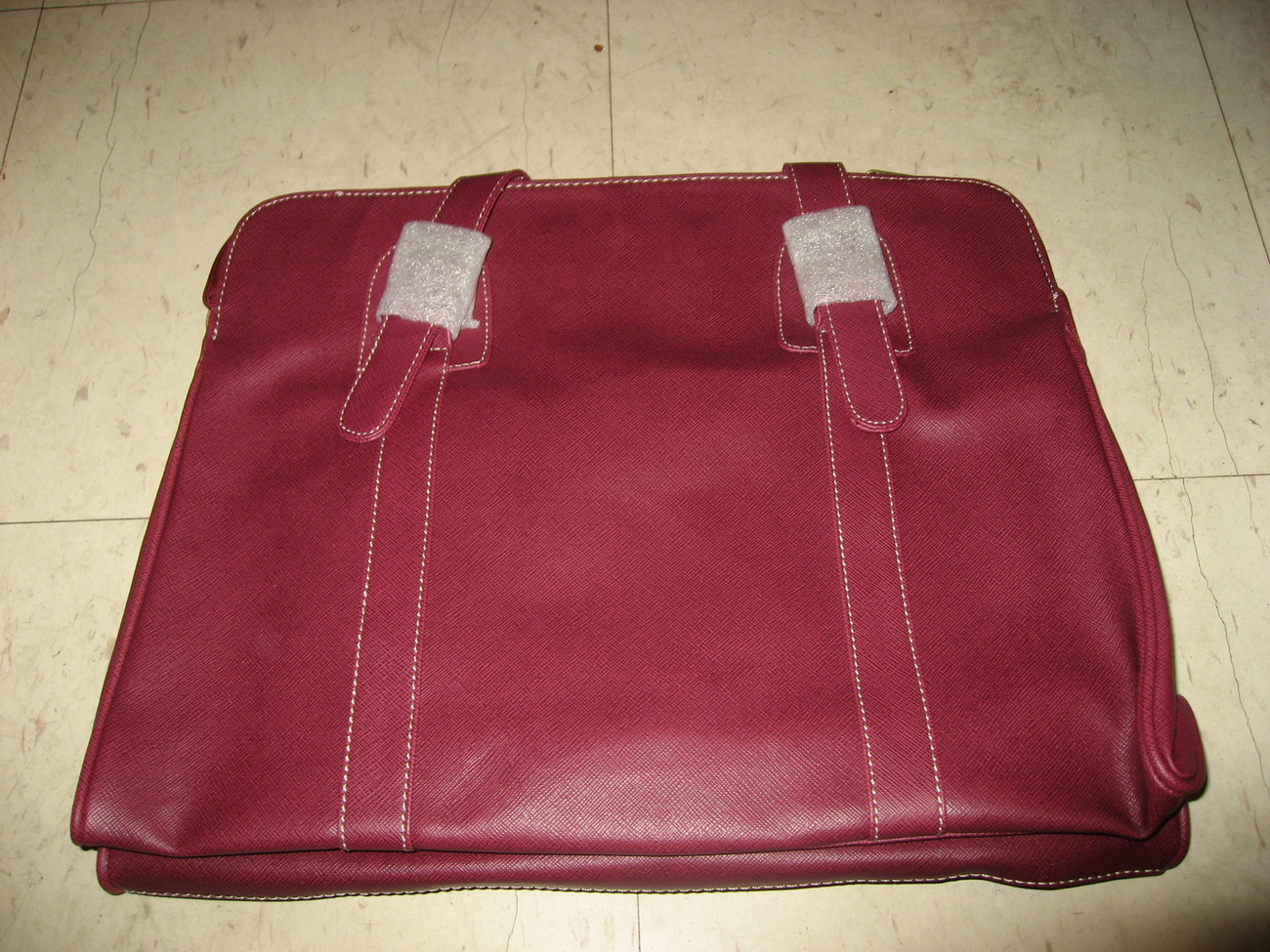 Estee lauder red leather handbag