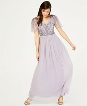 Adrianna Papell Illusion-Sleeve Beaded A-Line Gown Lilac Grey Size 6 $249 image 1
