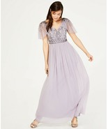 Adrianna Papell Illusion-Sleeve Beaded A-Line Gown Lilac Grey Size 6 $249 - $123.49