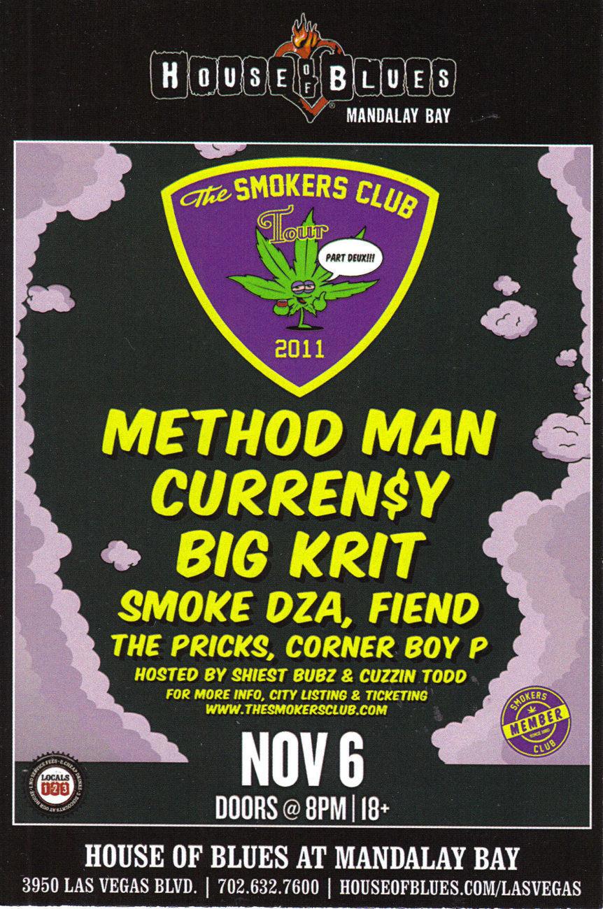 BLACK STAR / SMOKERS CLUB TOUR @ House of Blues Mandalay Bay Vegas Promo Card