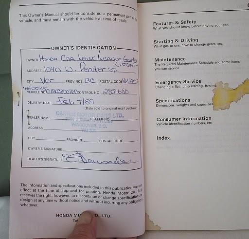 Civic Honda Owner's Manual 1989 Original Factory Edition