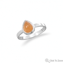 Pear Shape Orange Aventurine Handcrafted Sterling Silver Stacking Ring - $39.95